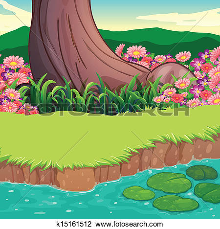 Clip Art of Alligators at the pond in the forest k16868468.