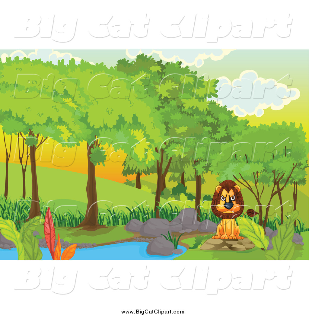 Big Cat Cartoon Vector Clipart of a Mad Lion Sitting at a Pond in.