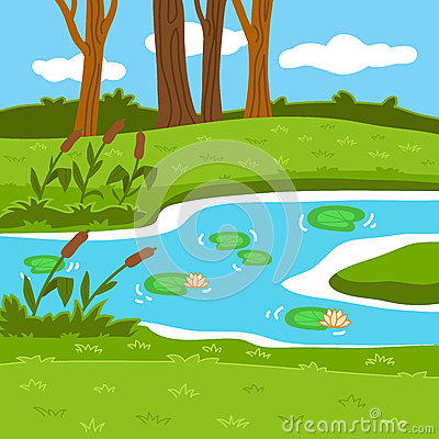 28summer Pond Woods 29 Stock Illustrations.