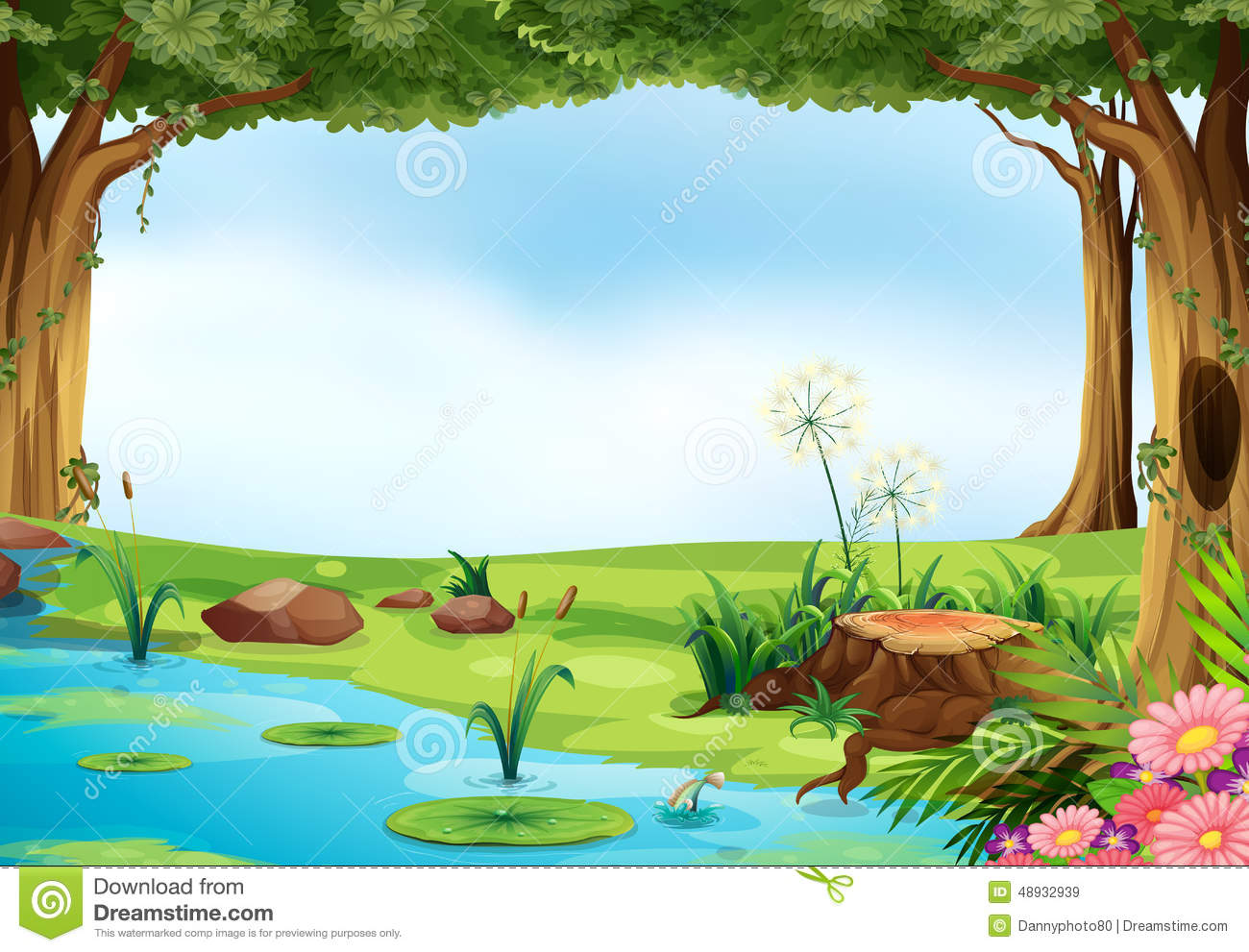 Clipart of a pond and tree.