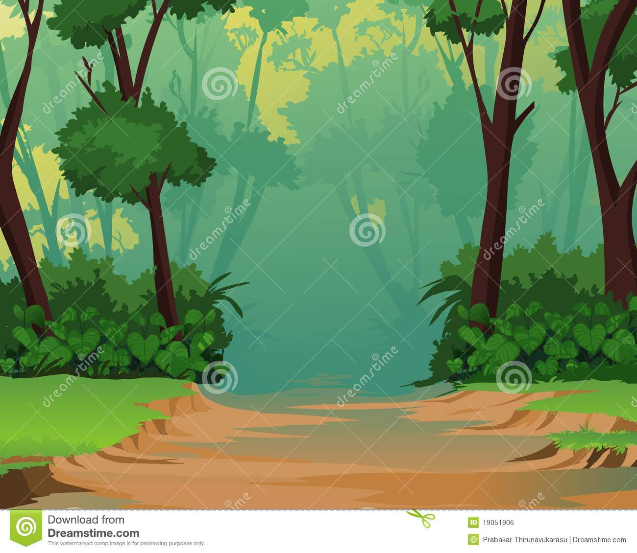 Cartoon Forest Background Clipart.