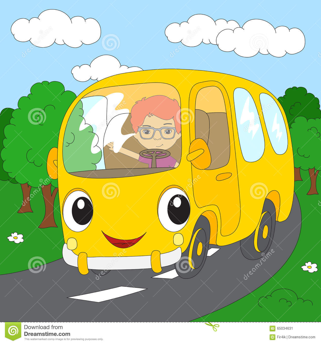 Cartoon Yellow Bus In The Forest Road. Coloring Book For Kids.