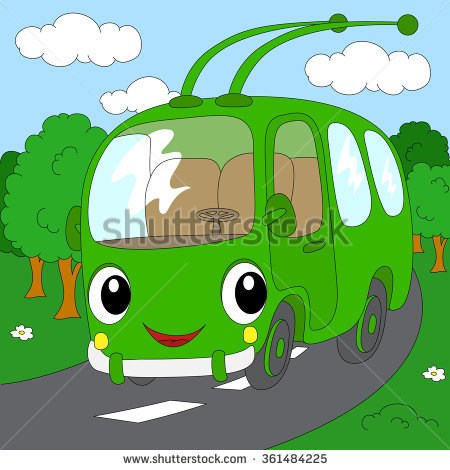 Cartoon Green Trolleybus Forest Road Illustration Stock.