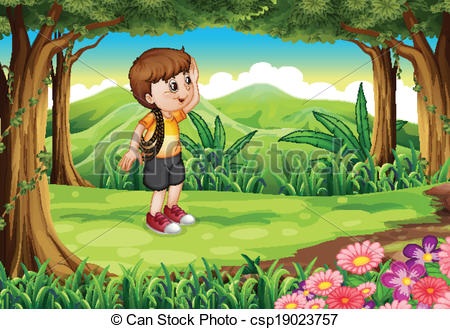 Clipart Vector of A boy at the forest with a rope at his arm.