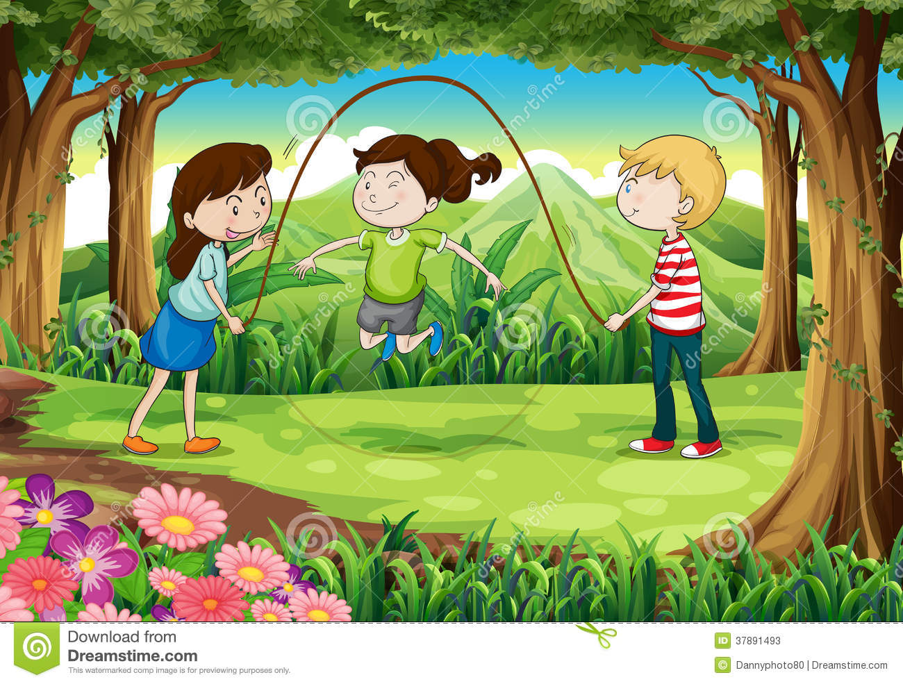 Three Kids Playing With A Rope In The Middle Of The Forest Stock.