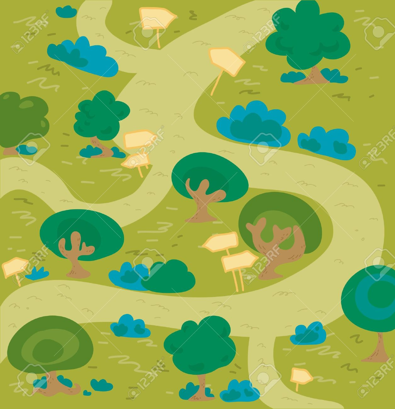 Forest trail clipart.