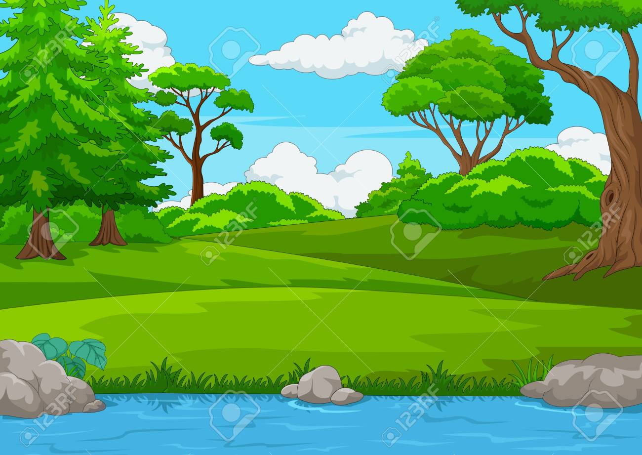 Forest scene with many trees and river illustration.