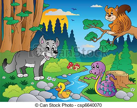 Forest scene with various animals 5.
