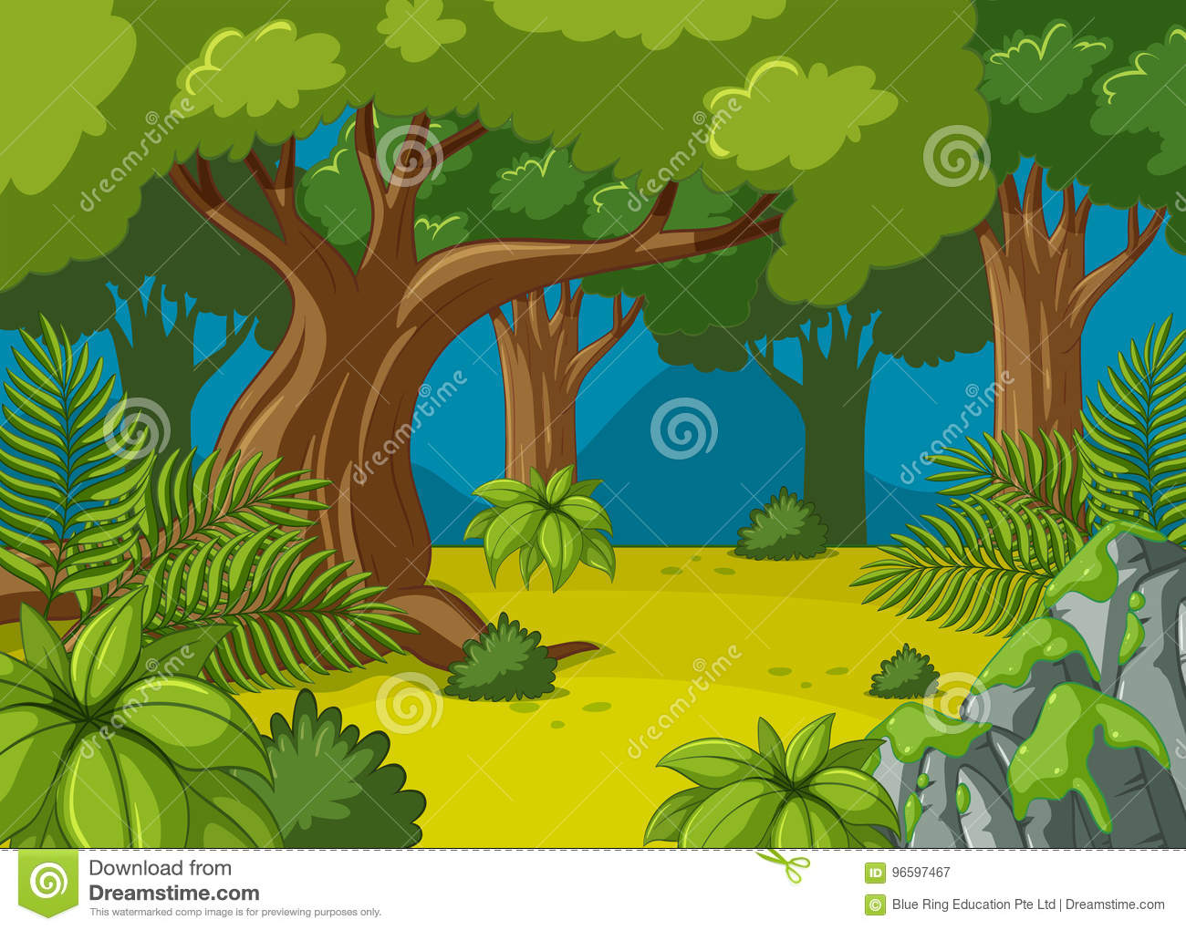 Forest Scene With Big Trees Stock Vector.