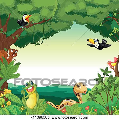 Forest scene Clipart.