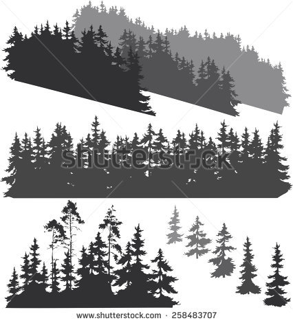 Vector evergreen forest silhouette free vector download (5,956.