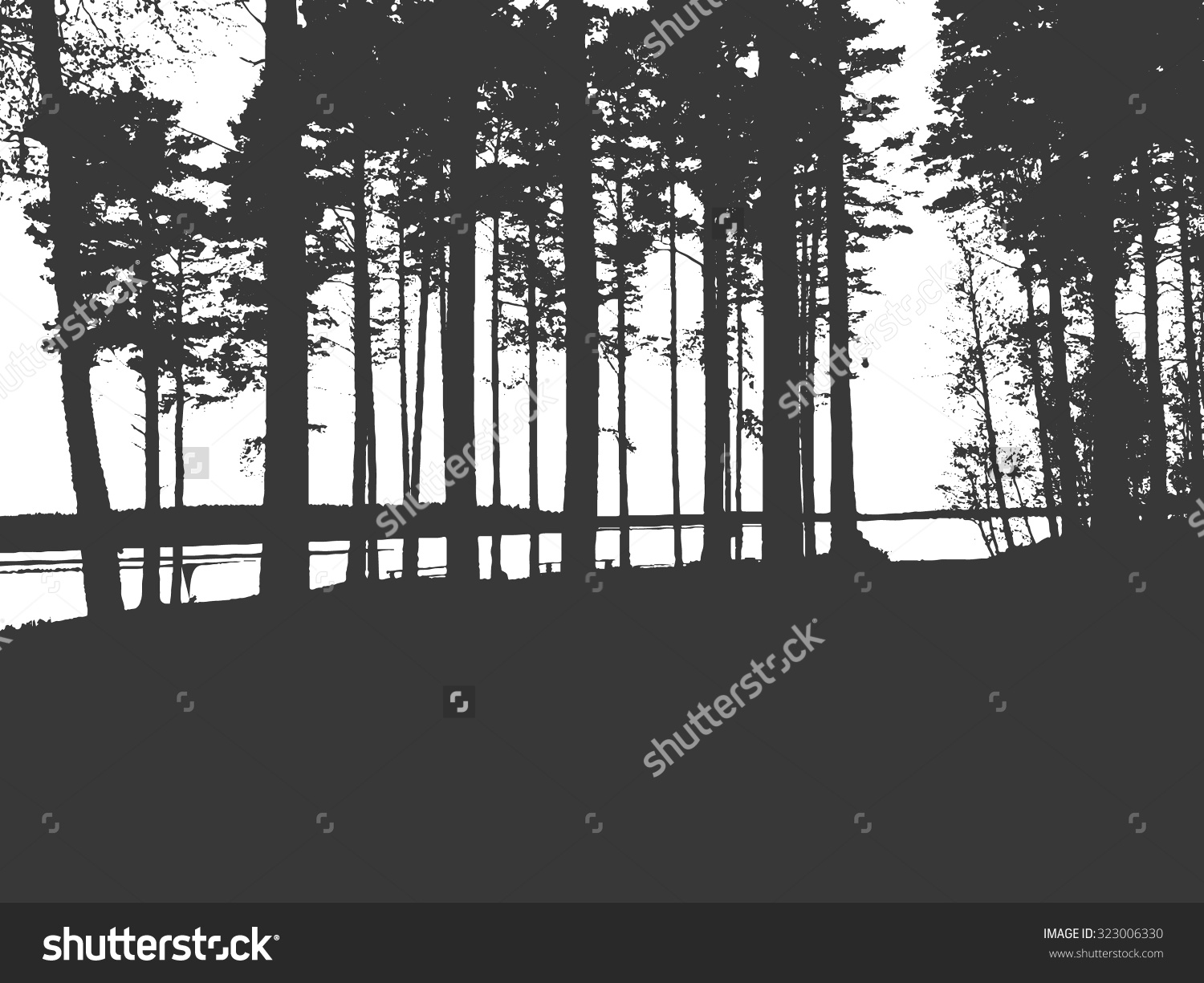 Vector Forest Silhouette Black White Sketchy Stock Vector.