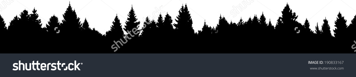 Vector Silhouette Detailed Seamless Spruce Forest Stock Vector.