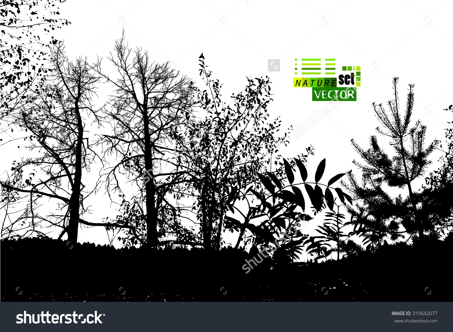 Forest Silhouette Vector Stock Vector 319542077.