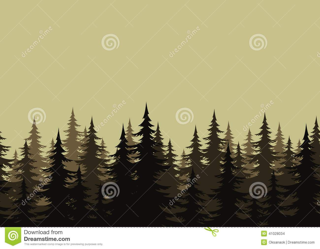 Seamless Landscape, Forest, Silhouettes Stock Vector.
