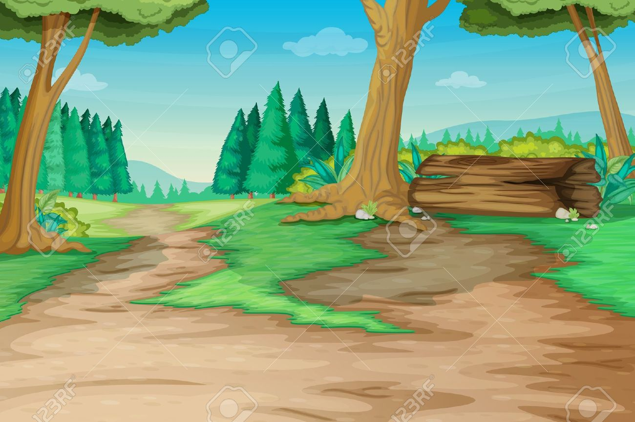 Winding Forest Path With Old Log Royalty Free Cliparts, Vectors.