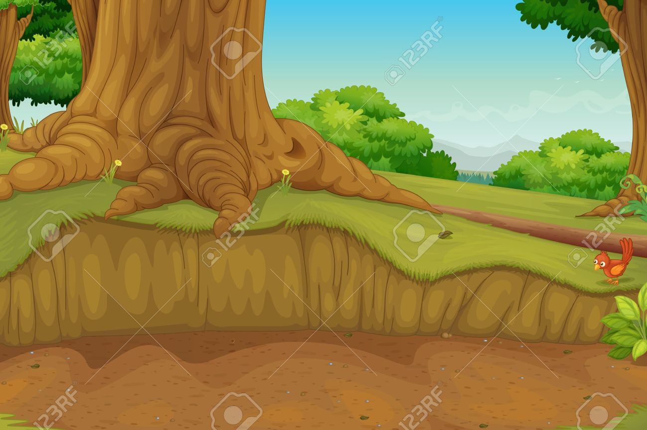 Illustration Of A Dirt Path In The Woods Royalty Free Cliparts.