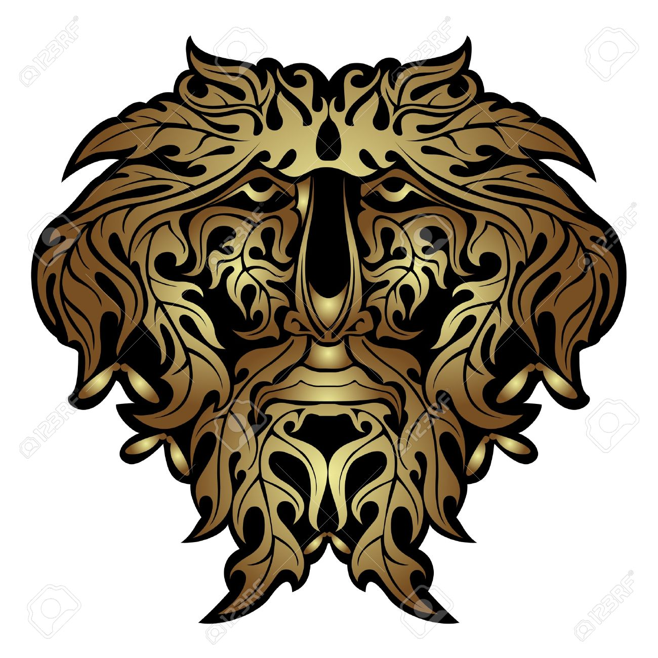 Gold Forest Spirit Face Royalty Free Cliparts, Vectors, And Stock.