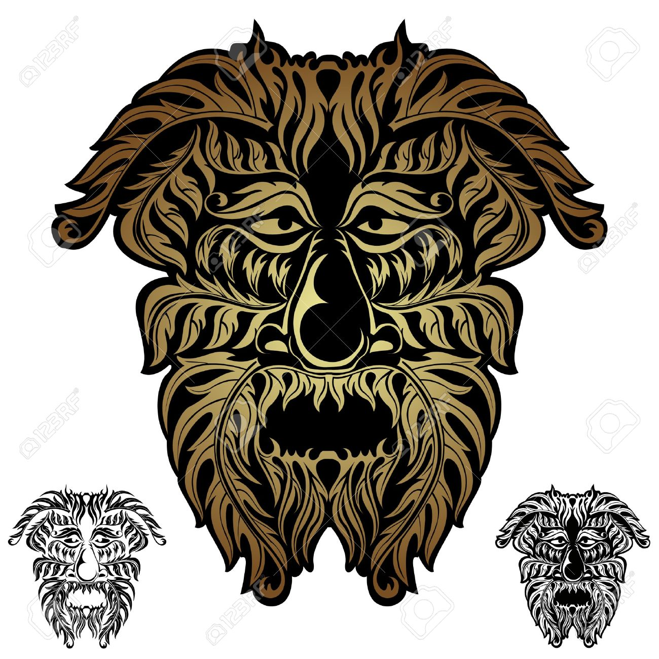 Forest Spirit Demon Face Tribal Royalty Free Cliparts, Vectors.
