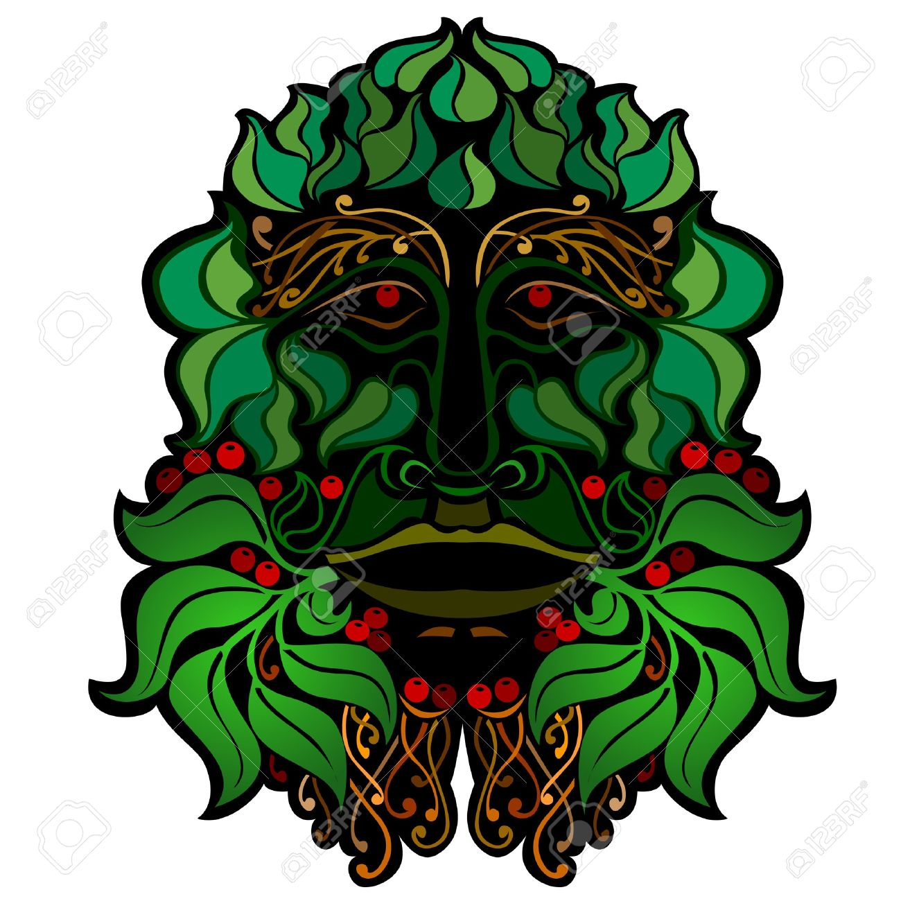 Forest Face Isolated Spirit Royalty Free Cliparts, Vectors, And.