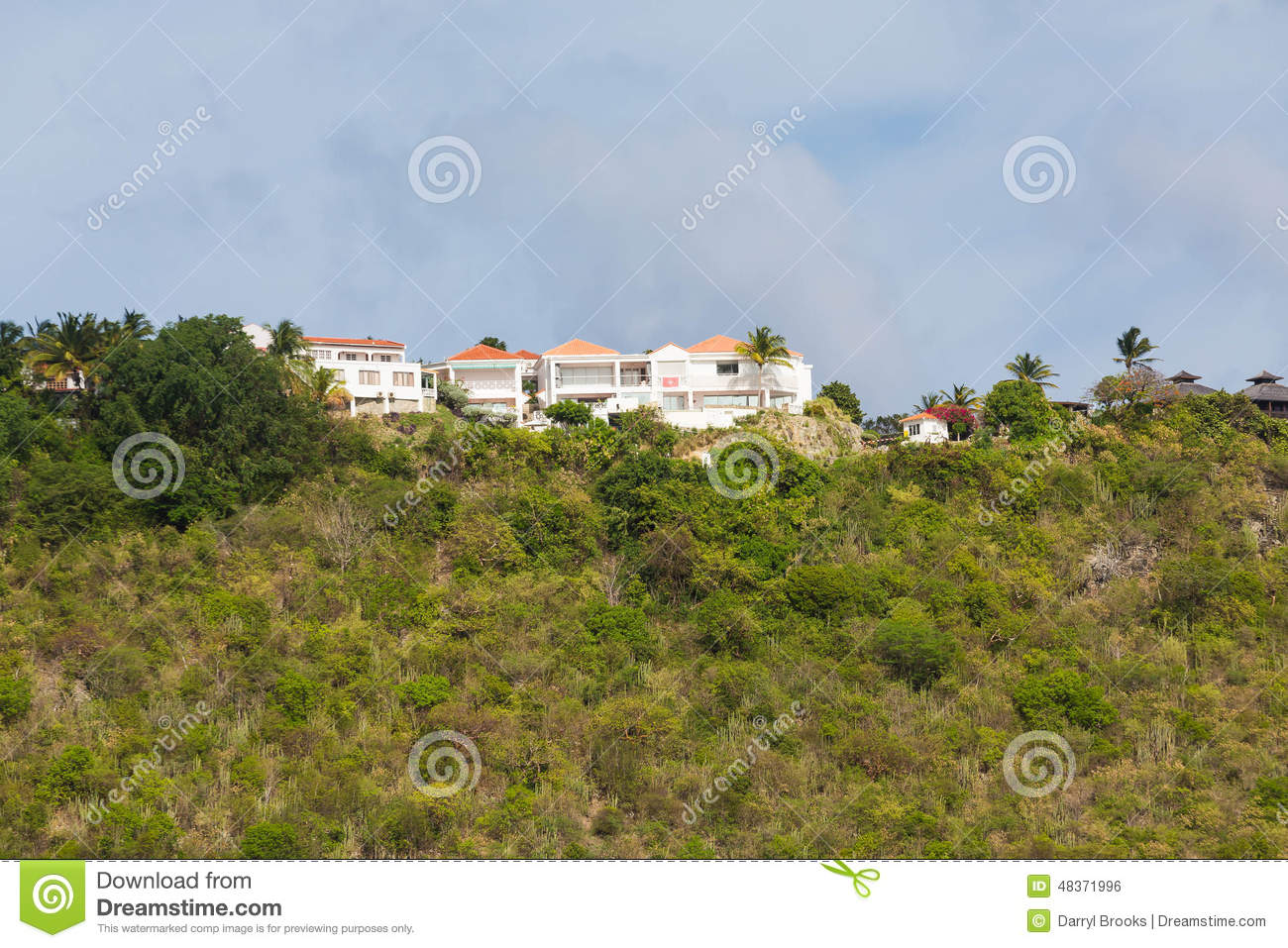 Stucco Mansion On Green Tropical Hill Stock Photo.