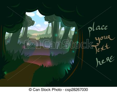 Vectors of Forest trail background.