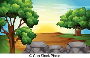 Clipart Vector of Forest Trail.