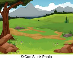 Vector Clip Art of Landscape woods valley hill forest land scene.