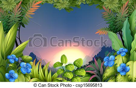 Vector Clip Art of An early morning view at the forest.