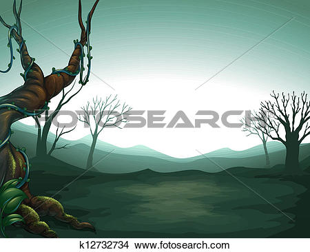 Clipart of A dark view of the forest k12732734.