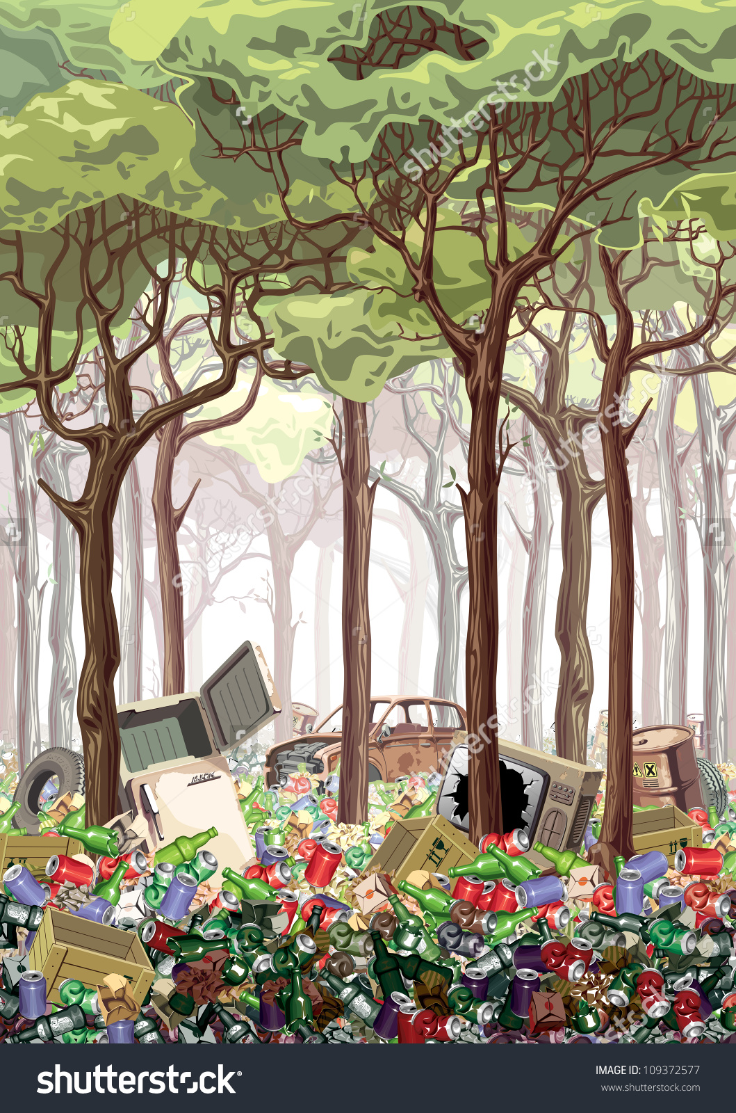 This Work About Industrial Nature Pollution Stock Illustration.