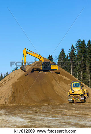 Stock Photograph of Yellow Excavator and bulldozer at Work in.
