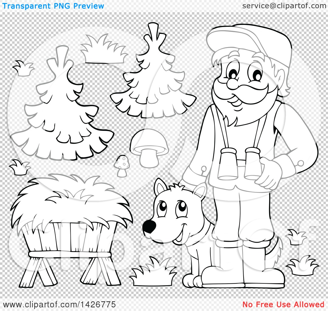 Clipart of a Black and White Lineart Male Forest Worker with a Dog.