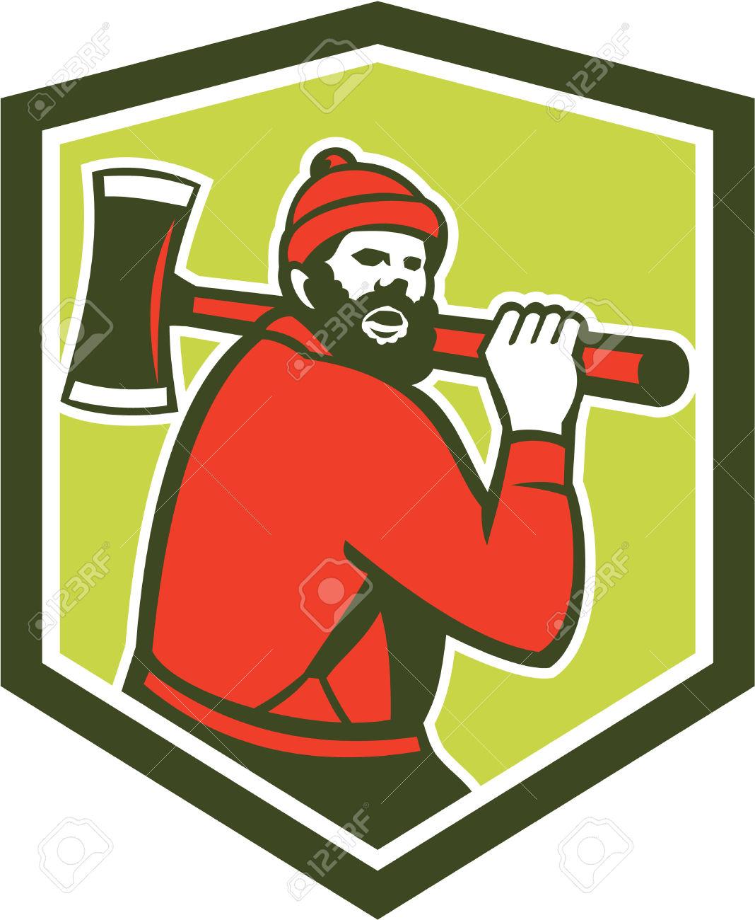 Illustration Of Paul Bunyan A Lumberjack Sawyer Forest Worker.