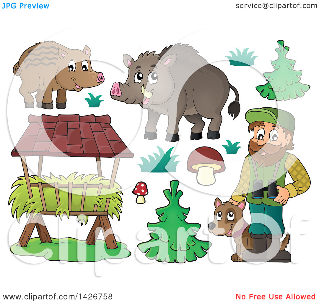 Clipart of a Male Forest Worker with a Dog, Boars, Trough, Trees.