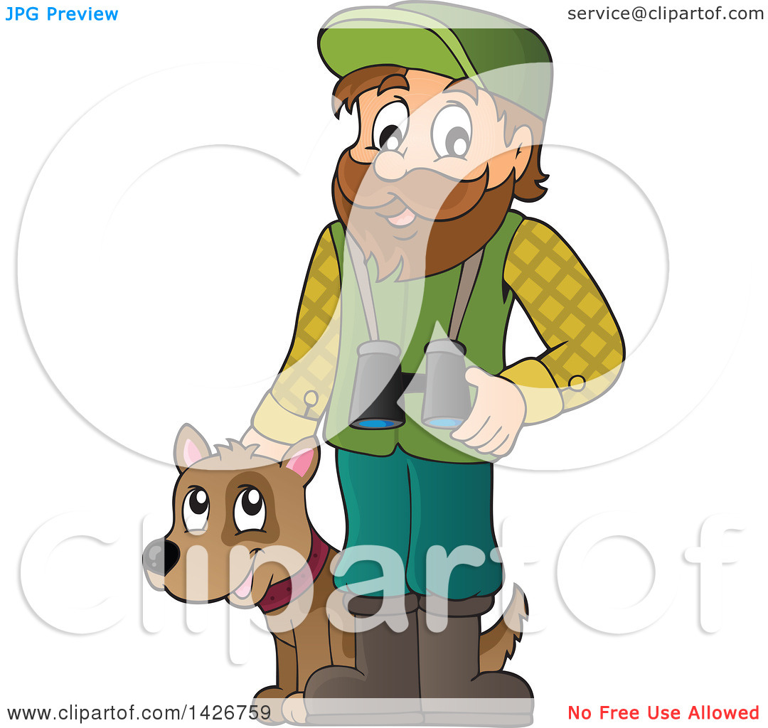 Clipart of a Happy Male Forester with Binoculars and a Dog.