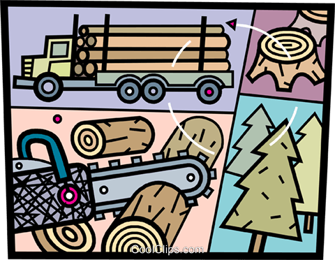 Forestry and Logging Royalty Free Vector Clip Art illustration.