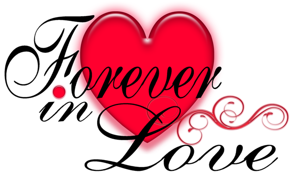 Valentine Love Forever with Glowing Heart PNG Picture.