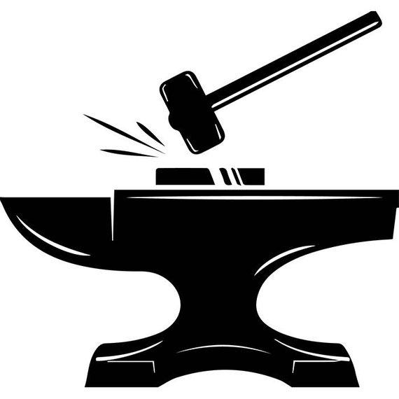 Blacksmith Logo #7 Forge Steel Metal Iron Tool Build Occupation.