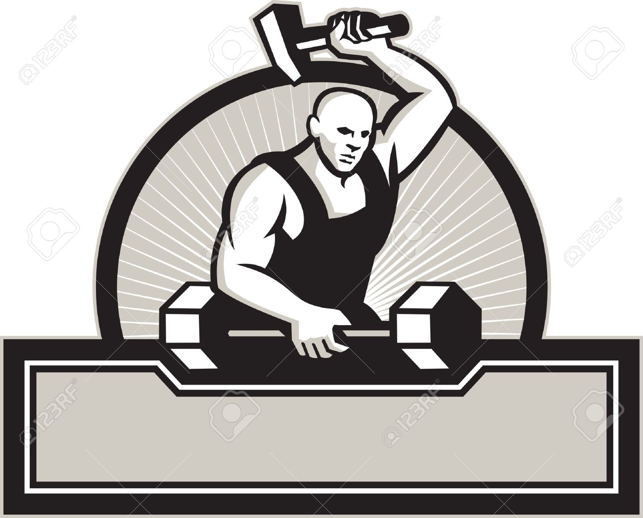 Illustration Of A Blacksmith With Hammer Forging Striking A.