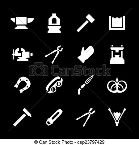 Vector Illustration of Set icons of forge isolated on black.
