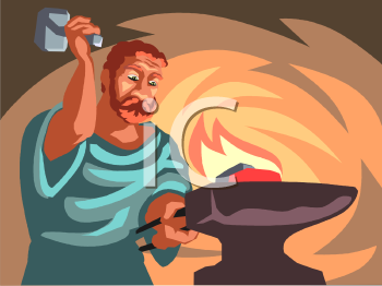 Hephaestus God of Fire and Forge Clip Art.