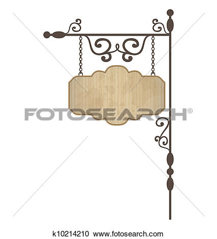Clipart of Wooden noticeboard with floral forged elements.
