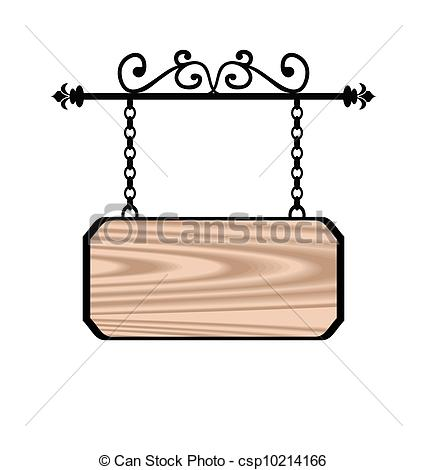 Clip Art Vector of Wooden sign with place for text, floral forging.
