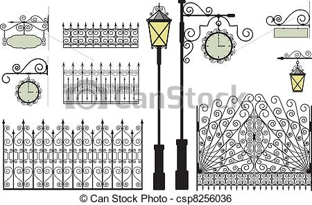 Clip Art Vector of forged elements.