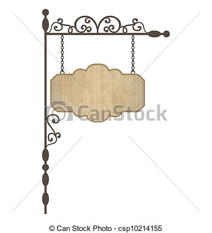 Clipart Vector of Wooden noticeboard with floral forged elements.