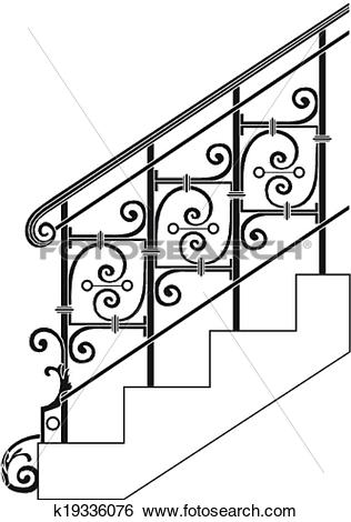 Clip Art of Black forged metal railings with floral motifs.