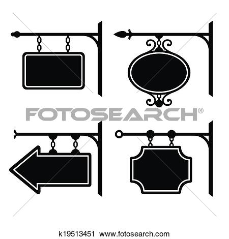 Clipart of Set of retro graphic forged signboards. Vector.