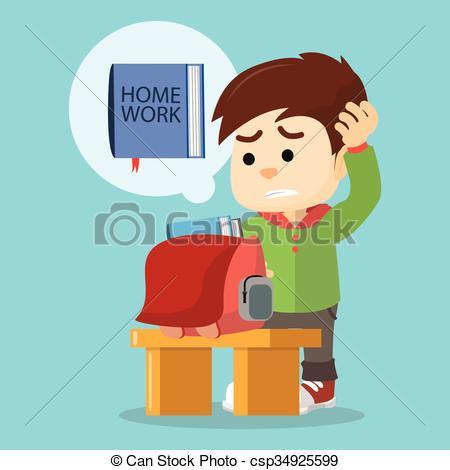 EPS Vectors of boy forget his homework csp34925599.