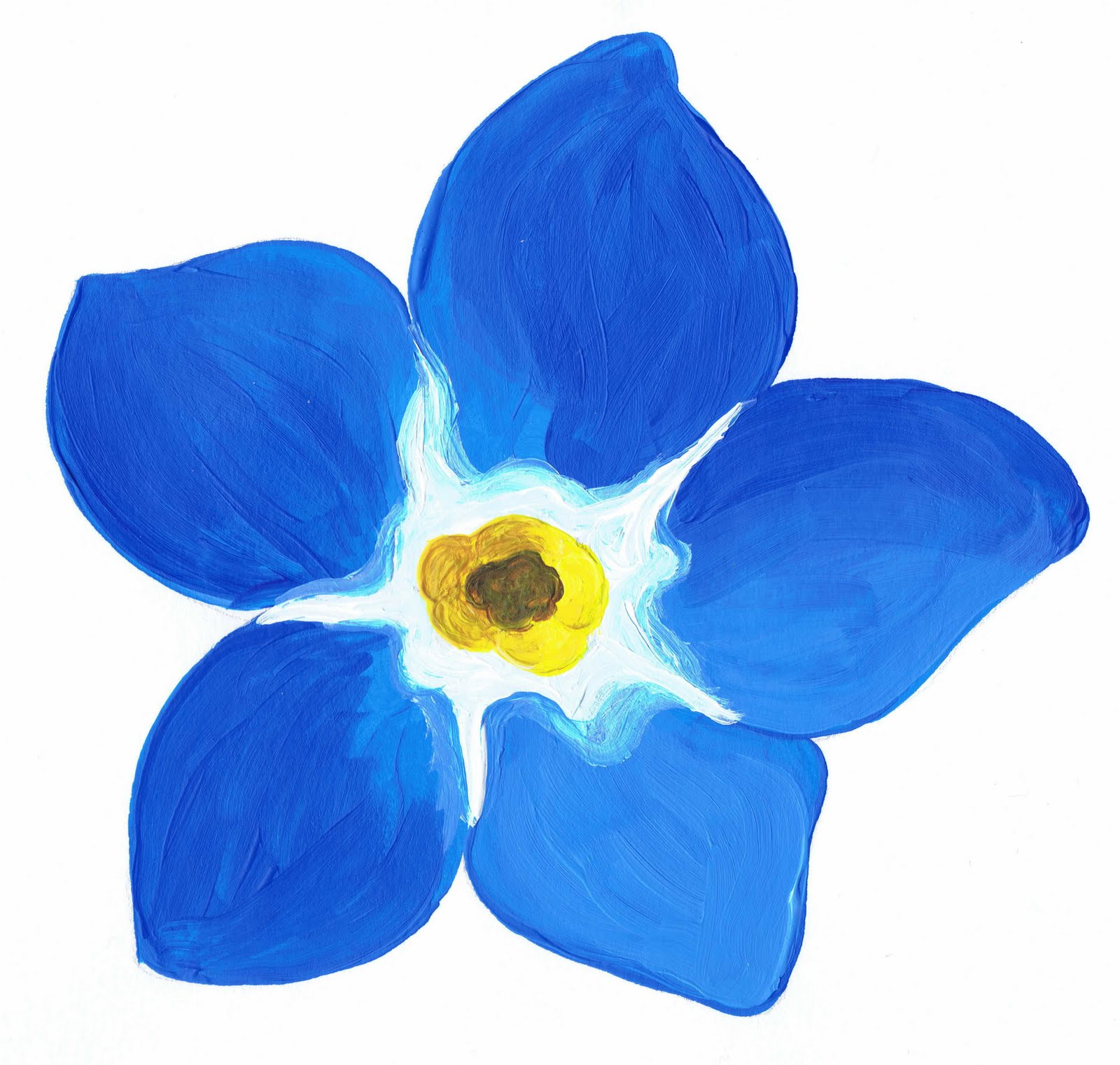 Blue Flower Forget me not Watercolor Clipart by mtnlaurelarts.